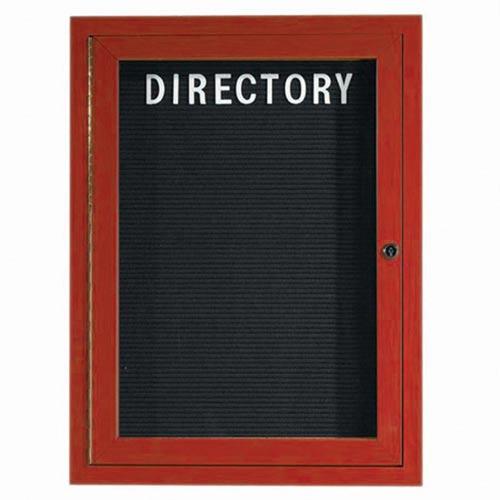 "Aarco OADCW3624R 1 Door Outdoor Enclosed Directory Board with Aluminum Wood-Look Cherry Finish  36"" x 24"""