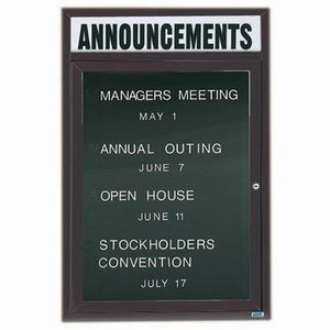 """Aarco OADC2418HIBA 1 Door Outdoor Illuminated Enclosed Directory Board with Bronze Anodized Aluminum Frame and Header 24"""" x 18"""""""