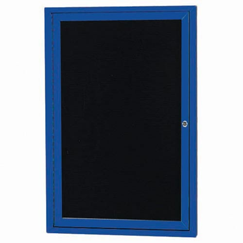 "Aarco OADC2418IB 1 Door Outdoor Illuminated Enclosed Directory Board with Blue Anodized Aluminum Frame 24"" x 18"""