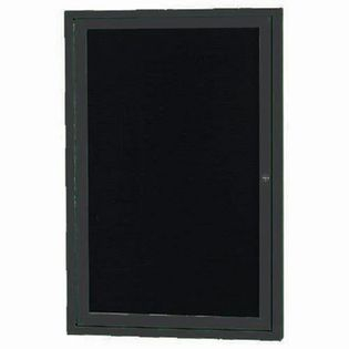 "Aarco OADC2418IBK 1 Door Outdoor Illuminated Enclosed Directory Board with Black Anodized Aluminum Frame 24"" x 18"""