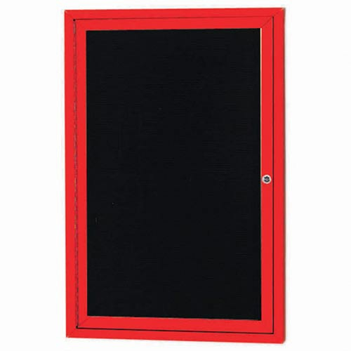 "Aarco OADC2418IR 1 Door Outdoor Illuminated Enclosed Directory Board with Red Anodized Aluminum Frame 24"" x 18"""