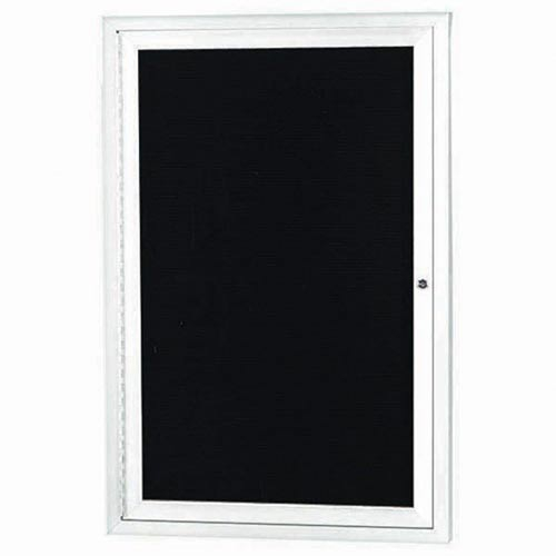 "Aarco OADC2418IW 1 Door Outdoor Illuminated Enclosed Directory Board with White Anodized Aluminum Frame 24"" x 18"""