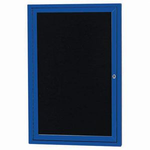 """Aarco OADC3624IB 1 Door Outdoor Illuminated Enclosed Directory Board with Blue Anodized Aluminum Frame 36"""" x 24"""""""
