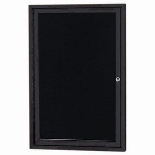 "Aarco OADC3624IBK 1 Door Outdoor Illuminated Enclosed Directory Board with Black Anodized Aluminum Frame 36"" x 24"""
