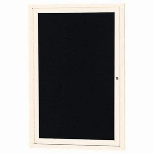 "Aarco OADC3624IIV 1 Door Outdoor Illuminated Enclosed Directory Board with Ivory Anodized Aluminum Frame 36"" x 24"""