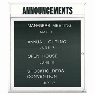 """Aarco OADC3630HIW 1 Door Outdoor Illuminated Enclosed Directory Board with White Anodized Aluminum Frame and Header 36"""" x 30"""""""
