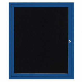 "Aarco OADC3630IB 1 Door Outdoor Illuminated Enclosed Directory Board with Blue Anodized Aluminum Frame 36"" x 30"""