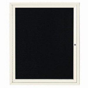 "Aarco OADC3630IIV 1 Door Outdoor Illuminated Enclosed Directory Board with Ivory Anodized Aluminum Frame 36"" x 30"""
