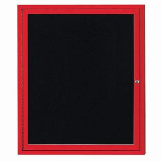 "Aarco OADC3630IR 1 Door Outdoor Illuminated Enclosed Directory Board with Red Anodized Aluminum Frame 36"" x 30"""