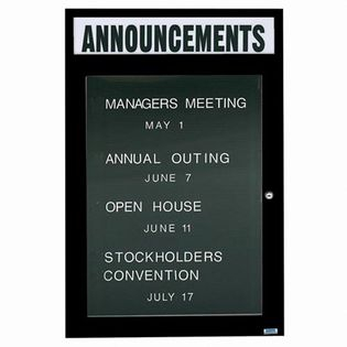 "Aarco OADC4836HIBK 1 Door Outdoor Illuminated Directory Board with Black Anodized Aluminum Frame and Header 48"" x 36"""