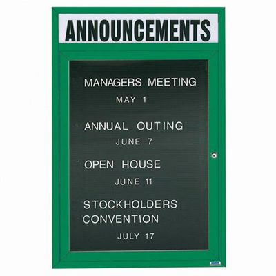 "Aarco OADC4836HIG 1 Door Outdoor Illuminated Directory Board with Green Anodized Aluminum Frame and Header 48"" x 36"""