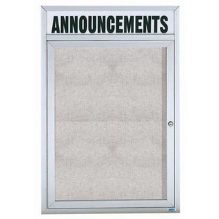 "Aarco ODCC2418RHI 1 Door Outdoor Illuminated Enclosed Bulletin Board with Aluminum Frame and Header 24"" x 18"""