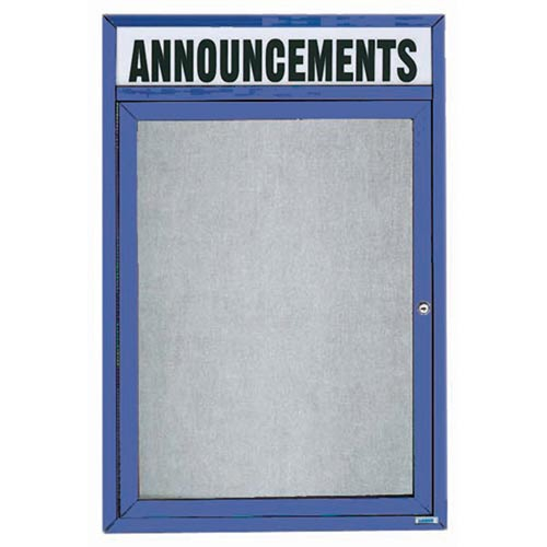 """Aarco ODCC2418RHIB 1 Door Outdoor Illuminated Enclosed Bulletin Board with Blue Powder Coated Aluminum Frame and Header 24"""" x 18"""""""