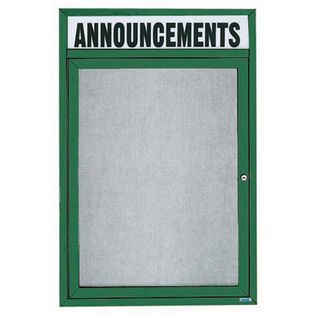"Aarco ODCC2418RHIG 1 Door Outdoor Illuminated Enclosed Bulletin Board with Green Powder Coated Aluminum Frame and Header 24"" x 18"""