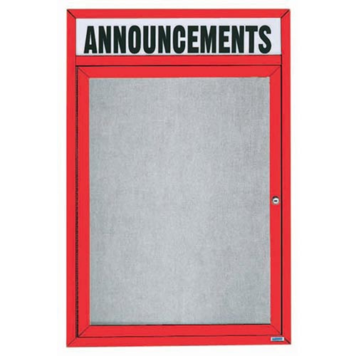 "Aarco ODCC2418RHIR 1 Door Outdoor Illuminated Enclosed Bulletin Board with Red Powder Coated Aluminum Frame and Header 24"" x 18"""
