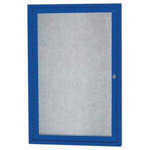 "Aarco ODCC2418RIB 1 Door Outdoor Illuminated Enclosed Bulletin Board with Blue Powder Coated Aluminum Frame 24"" x 18"""