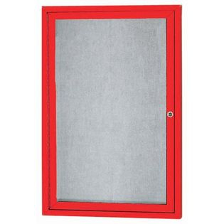 """Aarco ODCC2418RIR 1 Door Outdoor Illuminated Enclosed Bulletin Board with Red Powder Coated Aluminum Frame 24"""" x 18"""""""