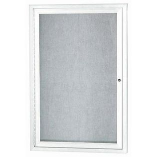 """Aarco ODCC2418RIW 1 Door Outdoor Illuminated Enclosed Bulletin Board with White Powder Coated Aluminum Frame 24"""" x 18"""""""