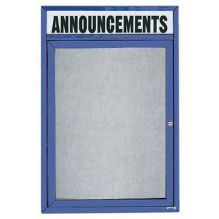 """Aarco ODCC3624RHIB 1 Door Outdoor Illuminated Enclosed Bulletin Board with Blue Powder Coated Aluminum Frame and Header 36"""" x 24"""""""