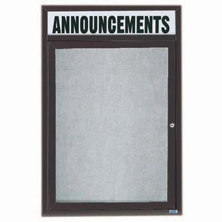"Aarco ODCC3624RHIBA 1 Door Outdoor Illuminated Enclosed Bulletin Board with Bronze Anodized Aluminum Frame and Header 36"" x 24"""