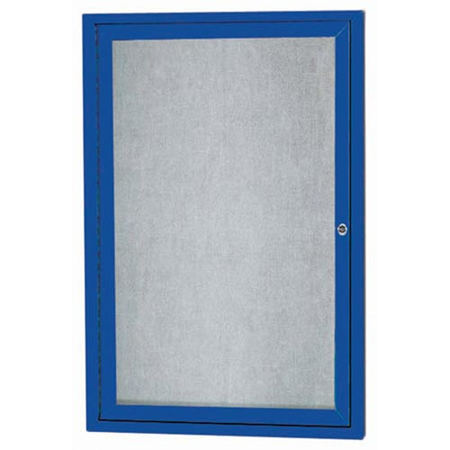 """Aarco ODCC3624RIB 1 Door Outdoor Illuminated Enclosed Bulletin Board with Blue Powder Coated Aluminum Frame 36"""" x 24"""""""