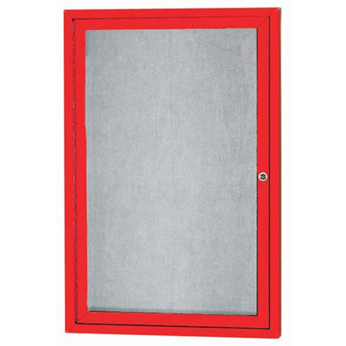 "Aarco ODCC3624RIR 1 Door Outdoor Illuminated Enclosed Bulletin Board with Red Powder Coated Aluminum Frame 36"" x 24"""