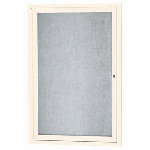 """Aarco ODCC3624RIV 1 Door Outdoor Enclosed Bulletin Board with Ivory Powder Coated Aluminum Frame 36"""" x 24"""""""