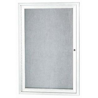 """Aarco ODCC3624RIW 1 Door Outdoor Illuminated Enclosed Bulletin Board with White Powder Coated Aluminum Frame 36"""" x 24"""""""
