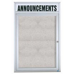 "Aarco ODCC4836RHI 1 Door Outdoor Illuminated Enclosed Bulletin Board with Aluminum Frame and Header 48"" x 36"""