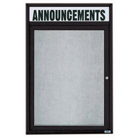 "Aarco ODCC4836RHIBK 1 Door Outdoor Illuminated Enclosed Bulletin Board with Black Powder Coated Aluminum Frame and Header 48"" x 36"""