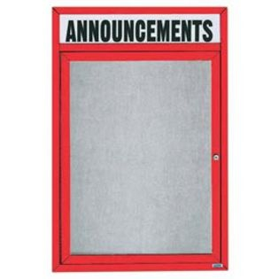 """Aarco ODCC4836RHIR 1 Door Outdoor Illuminated Enclosed Bulletin Board with Red Powder Coated Aluminum Frame and Header 48"""" x 36"""""""
