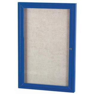 "Aarco ODCC4836RIB 1 Door Outdoor Illuminated Enclosed Bulletin Board with Blue Powder Coated Aluminum Frame 48"" x 36"""