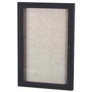 "Aarco ODCC4836RIBK 1 Door Outdoor Illuminated Enclosed Bulletin Board with Black Powder Coated Aluminum Frame 48"" x 36"""