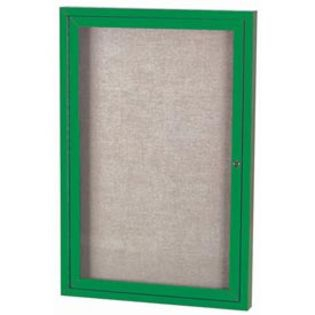 "Aarco ODCC4836RIG 1 Door Outdoor Illuminated Enclosed Bulletin Board with Green Powder Coated Aluminum Frame 48"" x 36"""