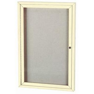 "Aarco ODCC4836RIIV 1 Door Outdoor Illuminated Enclosed Bulletin Board with Ivory Powder Coated Aluminum Frame 48"" x 36"""