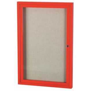 "Aarco ODCC4836RIR 1 Door Outdoor Illuminated Enclosed Bulletin Board with Red Powder Coated Aluminum Frame 48"" x 36"""