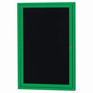 "Aarco OADC2418G 1 Door Outdoor Enclosed Directory Board with Green Anodized Aluminum Frame 24"" x 18"""