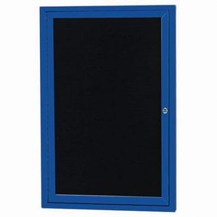 "Aarco OADC3624B 1 Door Outdoor Enclosed Directory Board with Blue Anodized Aluminum Frame 36"" x 24"""