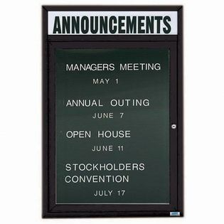 "Aarco OADC3624HBK 1 Door Outdoor Enclosed Directory Board with Black Anodized Aluminum Frame and Header 36"" x 24"""