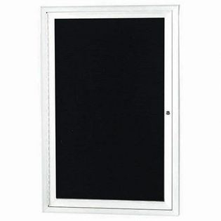 "Aarco OADC3624W 1 Door Outdoor Enclosed Directory Board with White Anodized Aluminum Frame  36"" x 24"""