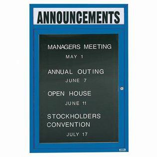 "Aarco OADC4836HB 1 Door Outdoor Enclosed Directory Board with Blue Anodized Aluminum Frame  48"" x 36"""