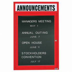 """Aarco OADC4836HR 1 Door Outdoor Enclosed Directory Board with Red Anodized Aluminum Frame  48"""" x 36"""""""