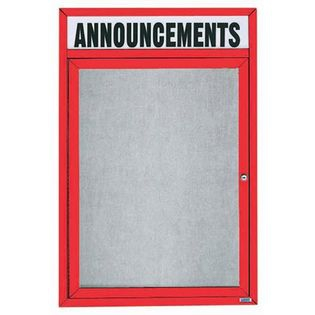 "Aarco ODCC2418RHR 1 Door Outdoor Enclosed Bulletin Board with Red Powder Coated Aluminum Frame and Header 24"" x 18"""