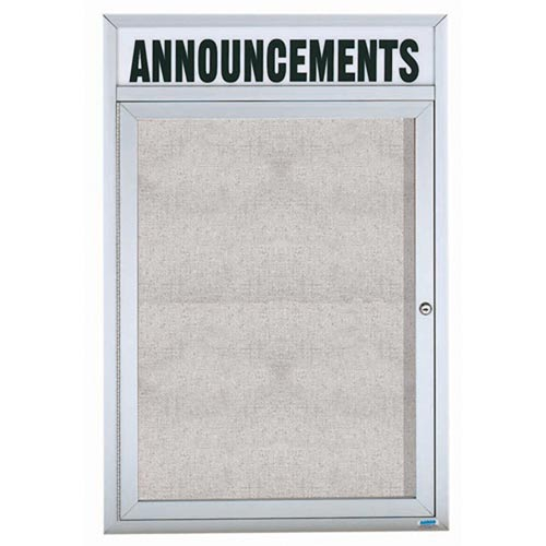 "Aarco ODCC3624RH 1 Door Outdoor Enclosed Bulletin Board with Aluminum Frame and Header 36"" x 24"""