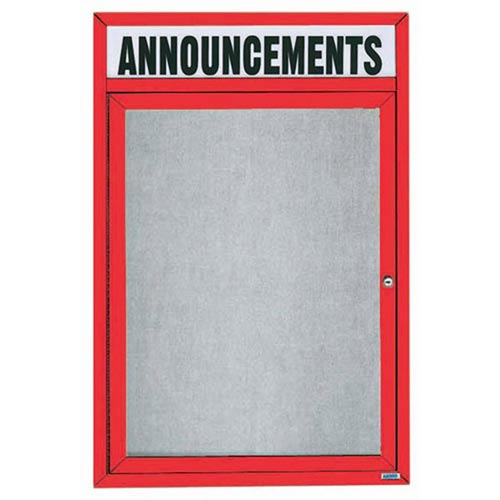 "Aarco ODCC3624RHR 1 Door Outdoor Enclosed Bulletin Board with Red Powder Coated Aluminum Frame and Header 36"" x 24"""