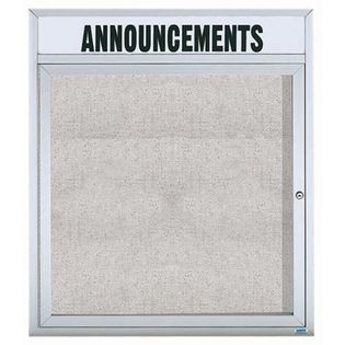 "Aarco ODCC3630RH 1 Door Outdoor Enclosed Bulletin Board with Aluminum Frame and Header 36"" x 30"""