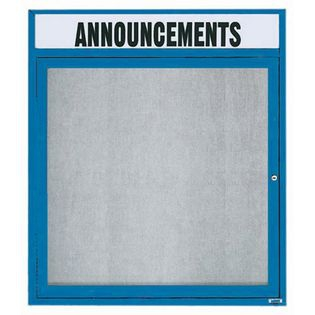 """Aarco ODCC3630RHB 1 Door Outdoor Enclosed Bulletin Board with Blue Powder Coated Aluminum Frame and Header 36"""" x 30"""""""