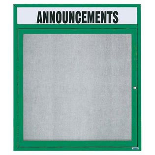 """Aarco ODCC3630RHG 1 Door Outdoor Enclosed Bulletin Board with Green  Powder Coated Aluminum Frame and Header 36"""" x 30"""""""