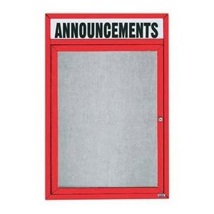 "Aarco ODCC4836RHR 1 Door Outdoor Enclosed Bulletin Board with Aluminum Frame and Header 48"" x 36"""