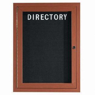 "Aarco OADCO2418R1 Door Outdoor Enclosed Directory Board with Aluminum Wood-Look Oak Finish 24"" x 18"""